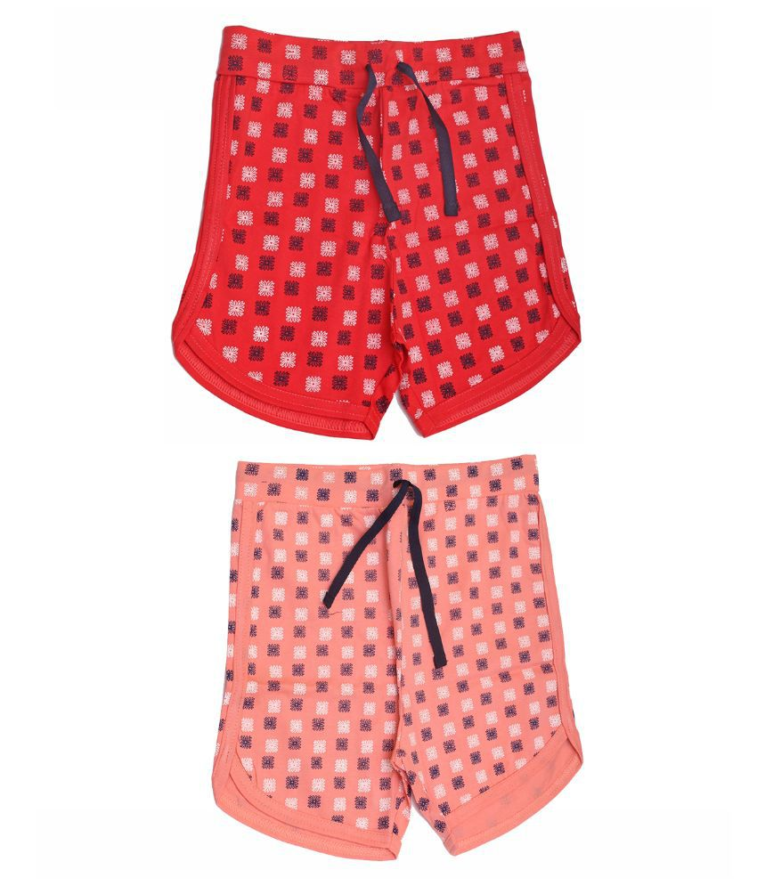 Babeezworld Multicolor Shorts For Girls -Pair Of 2