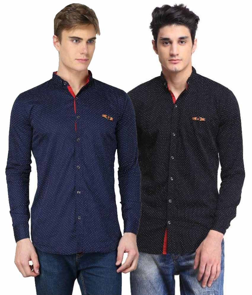 Bravezi Multi Casuals Slim Fit Shirt Pack of 2
