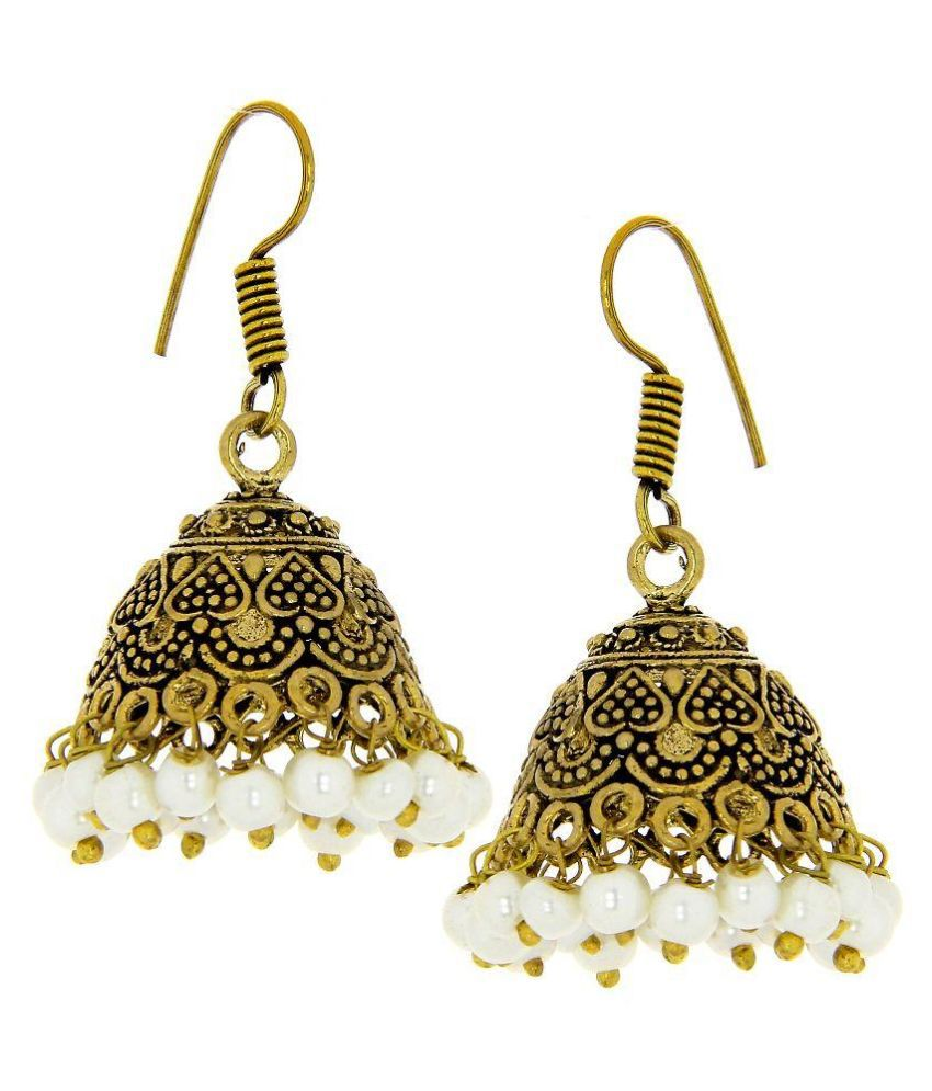 Kaizer Jewelry German Silver Oxidised Studded Gold Coloured Earrings