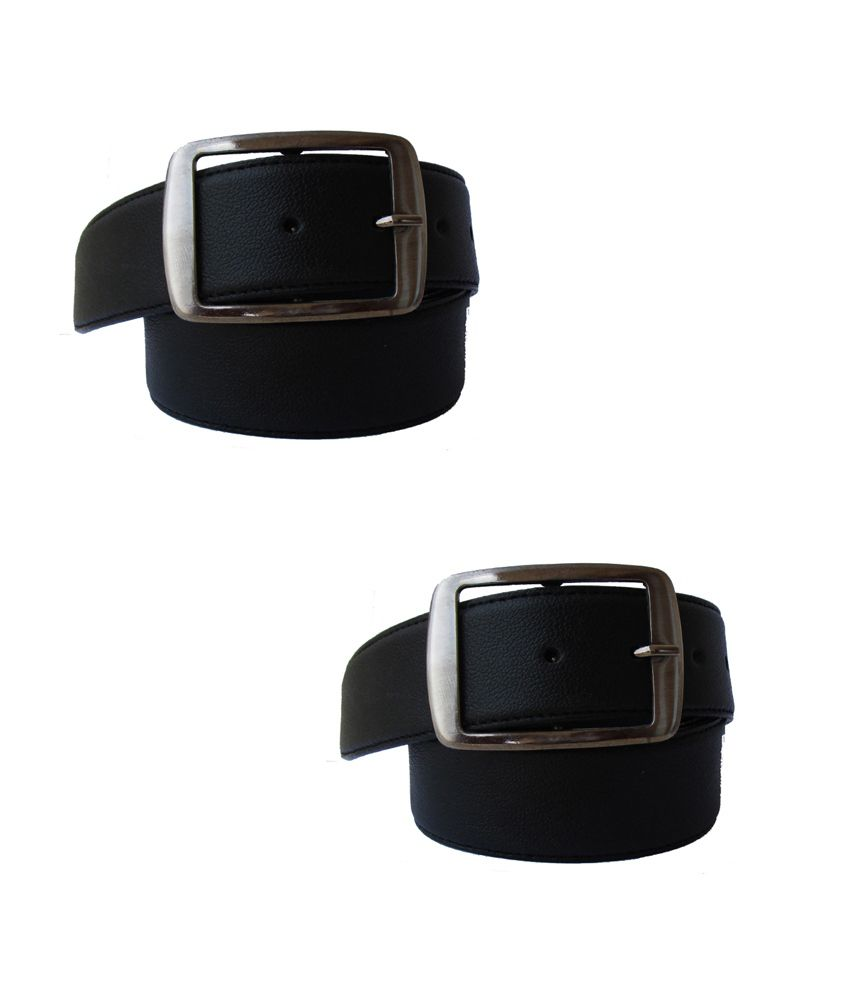 Klaska Black Genuine Leather Belts Pack Of 2