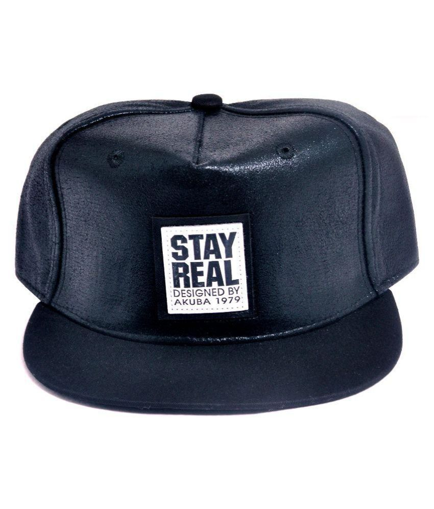 Maxpro Black Leather Snapback Cap for Men