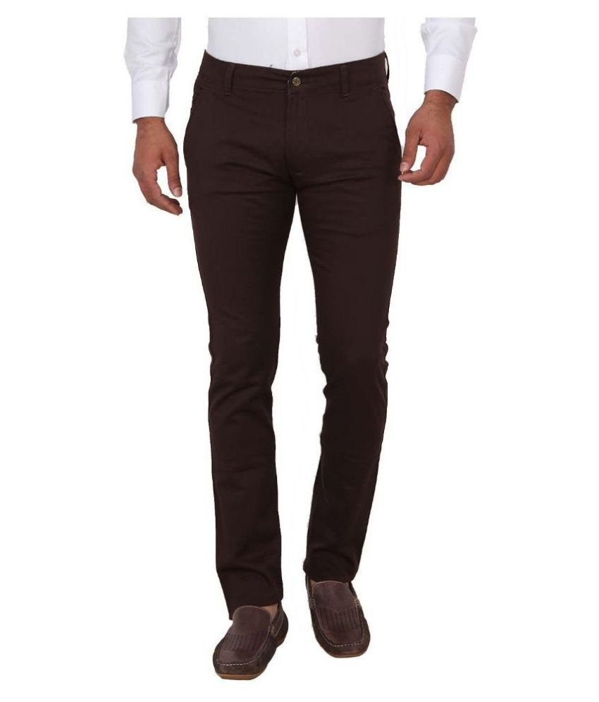 Sliver Tags Brown Slim Fit Chinos