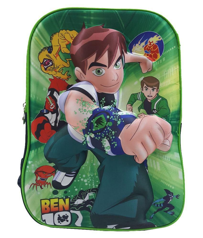 Tasni Green Polyester School Bag