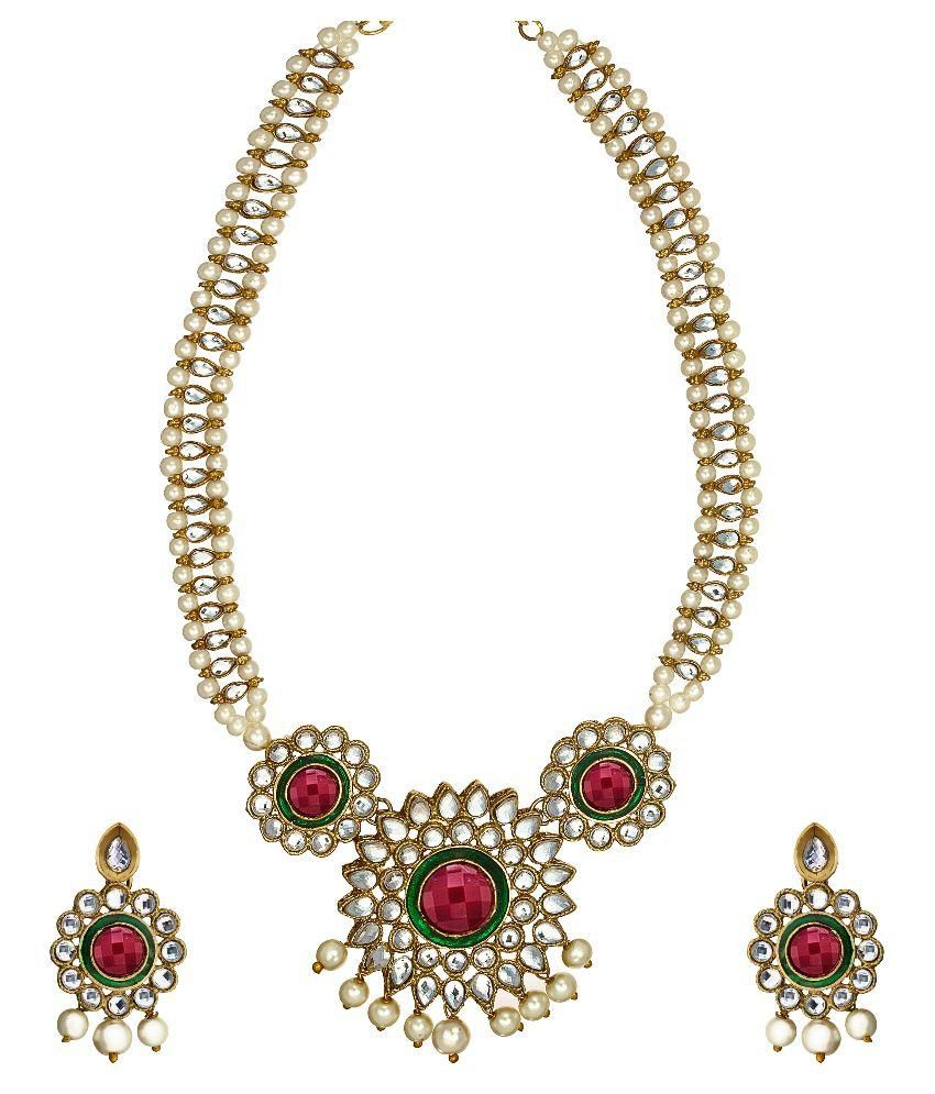 Zaveri Pearls Floral Pearl Jewellery Necklace