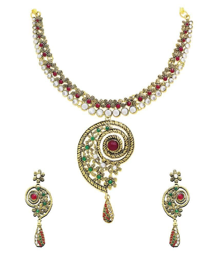 Zaveri Pearls Multicolour Antique Traditional Koyari Design Necklace Set - ZPFK12