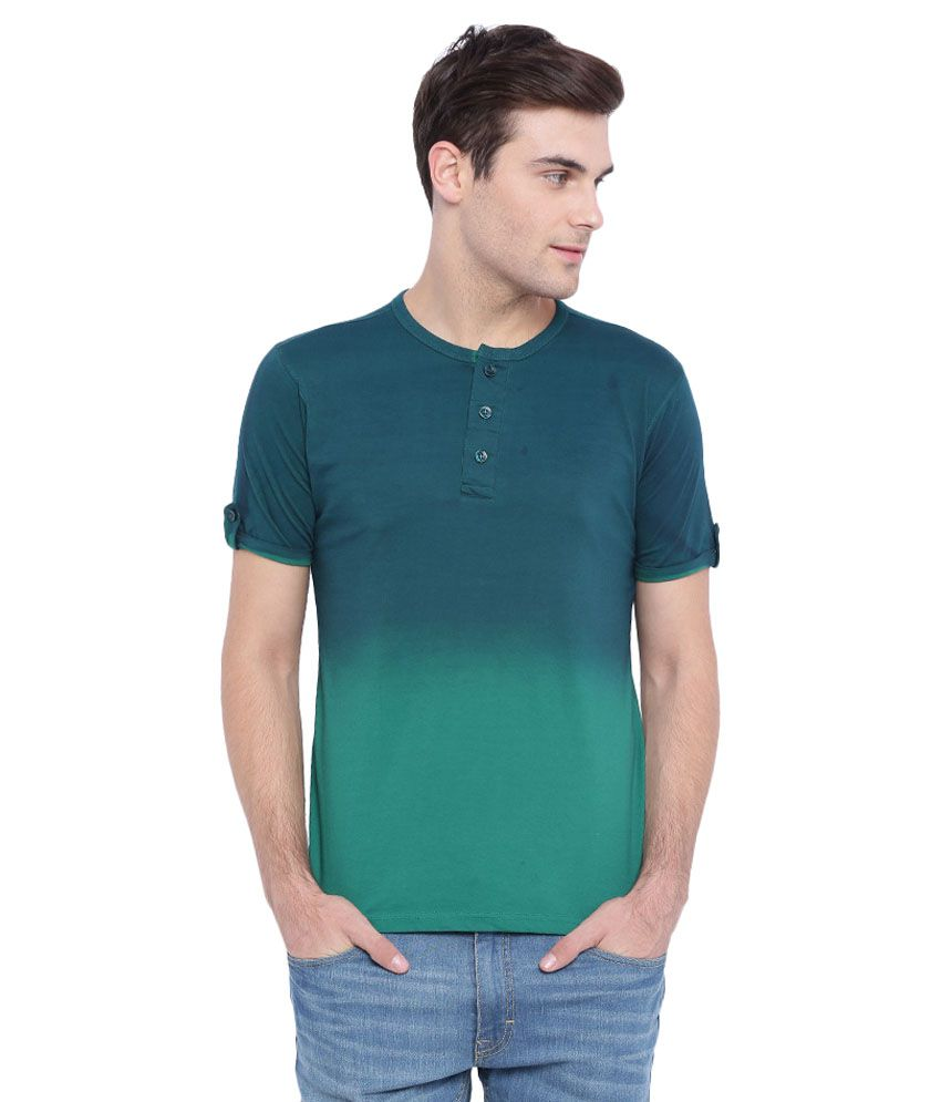 Campus Sutra Green Henley T Shirt For Men