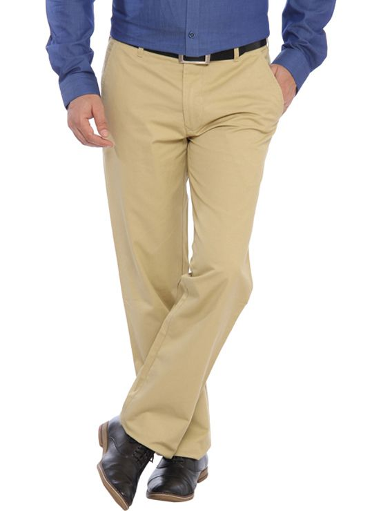 ColorPlus Beige Slim Fit Flat Trousers