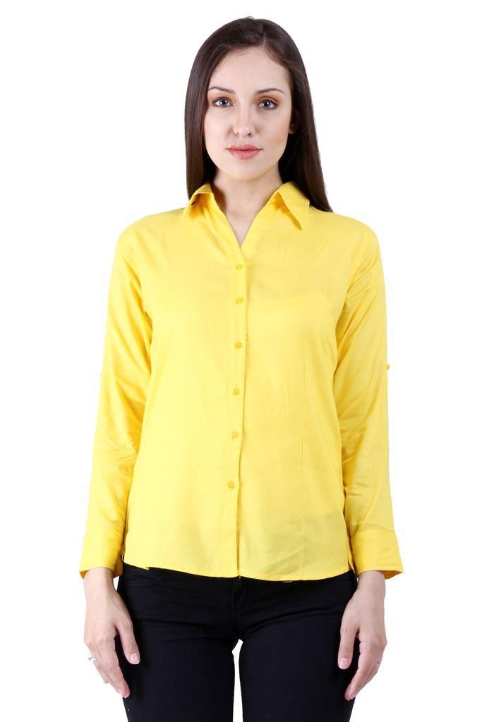 NumBrave Yellow Viscose Shirts