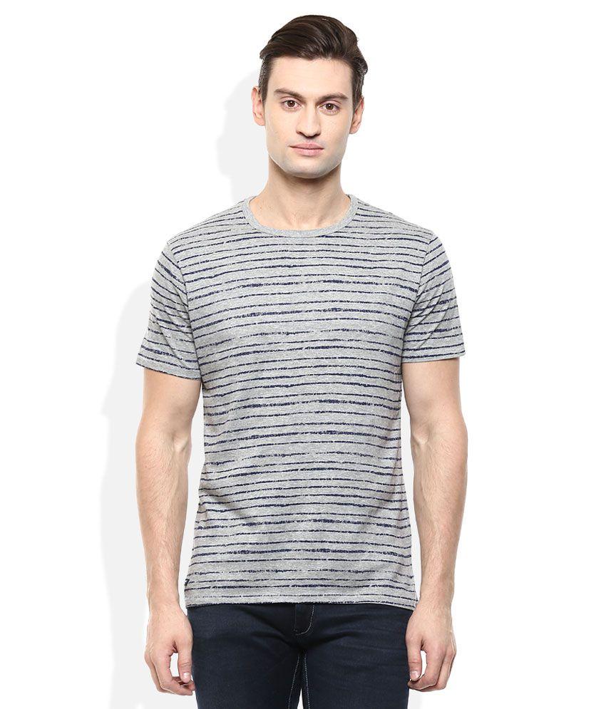 Threadbare Grey Round Neck Half Sleeves T-Shrit