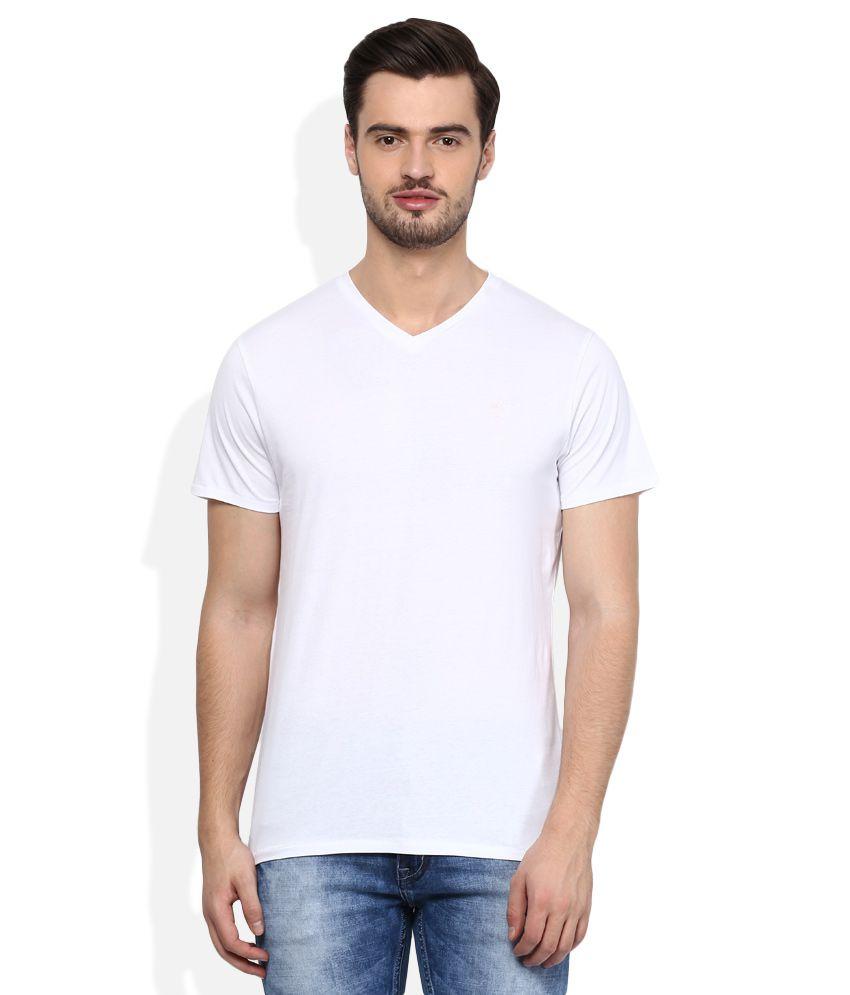 Threadbare White V-Neck Half SleevesSolids T-Shirt