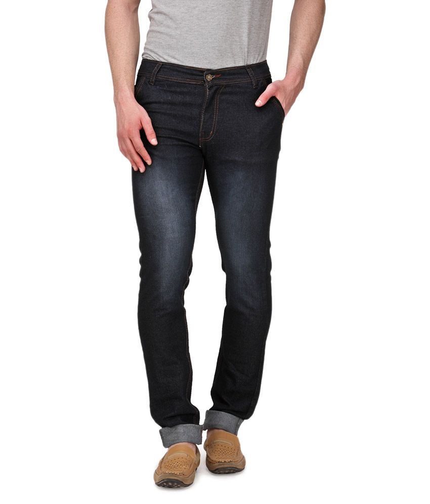 Indiana Black Slim Fit Faded Jeans