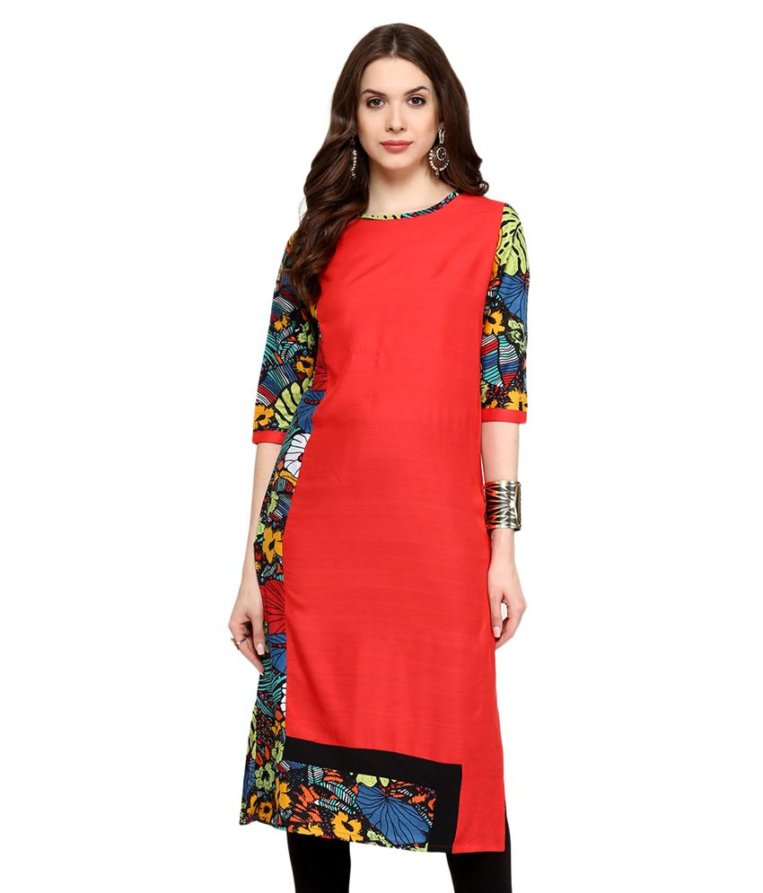 Pannkh Red Rayon Straight Kurti