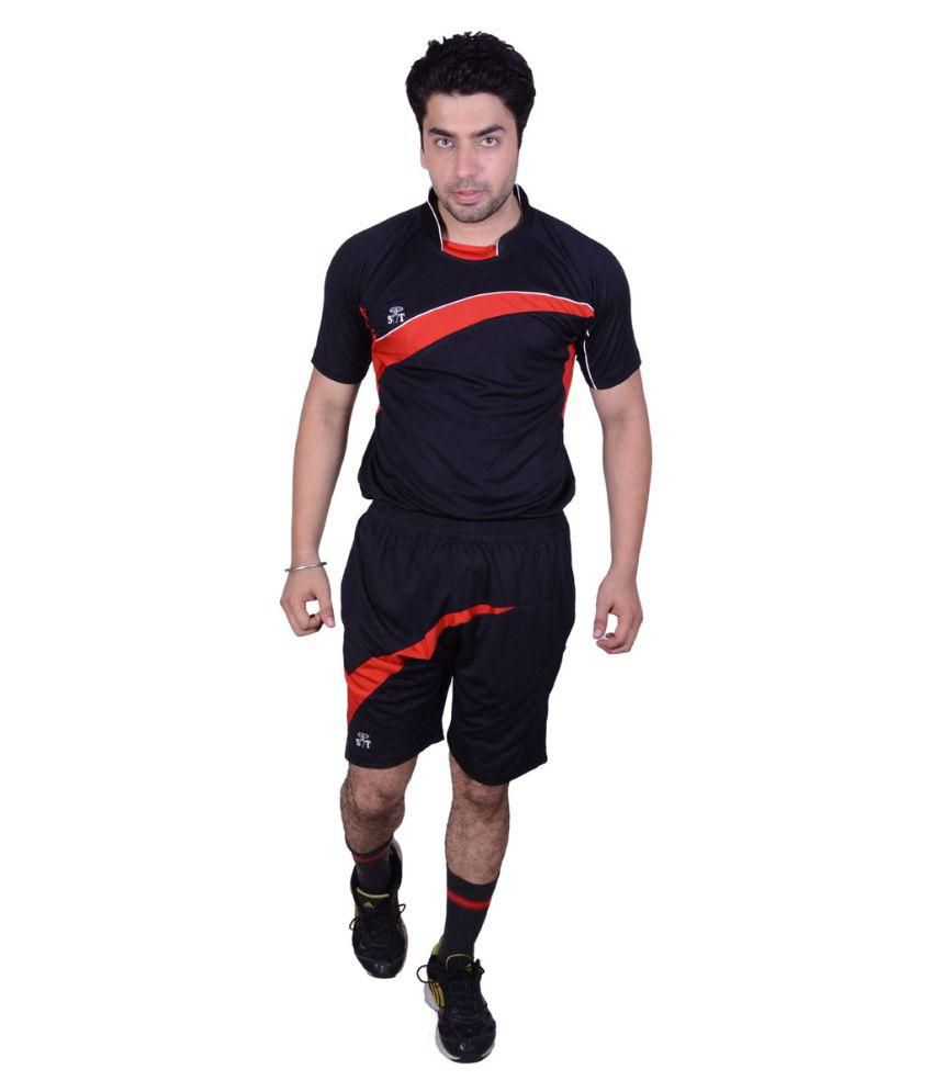 SST Black Polyester T-shirts & Shorts