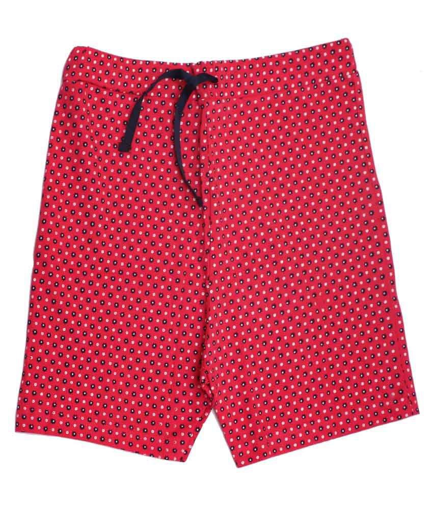 Babeezworld Red Cotton Shorts