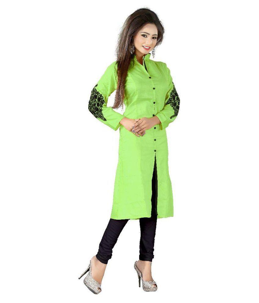 Elife Green Cotton Shirt style Kurti