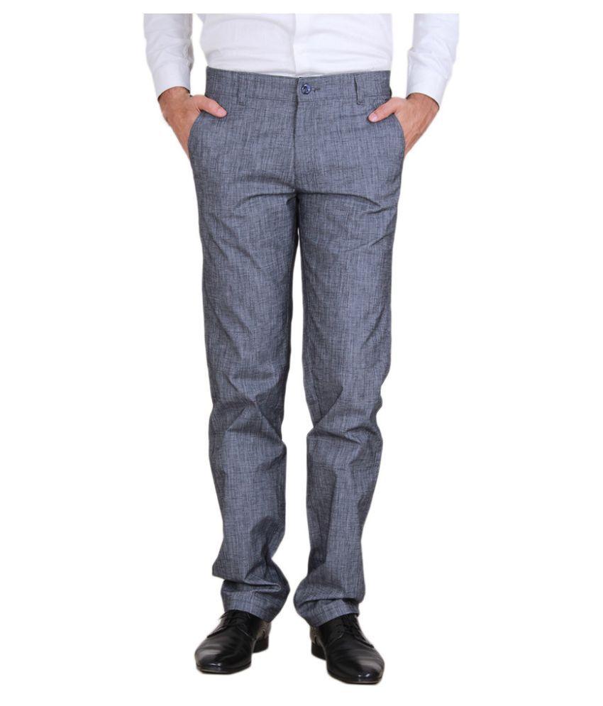 Mark-8 Grey Regular Fit Flat Trousers