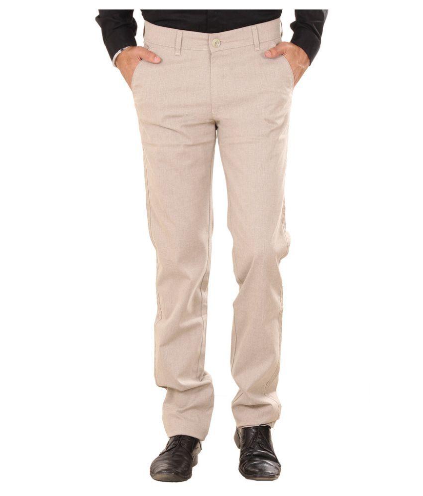 Metalica Beige Regular Fit Flat Trousers