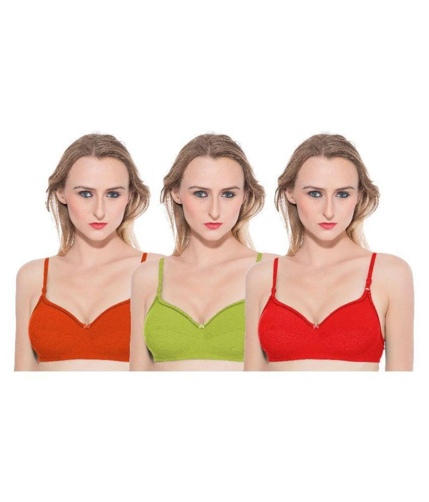 New Manshi Lingeries Multi Color Cotton Bra - Pack of 3