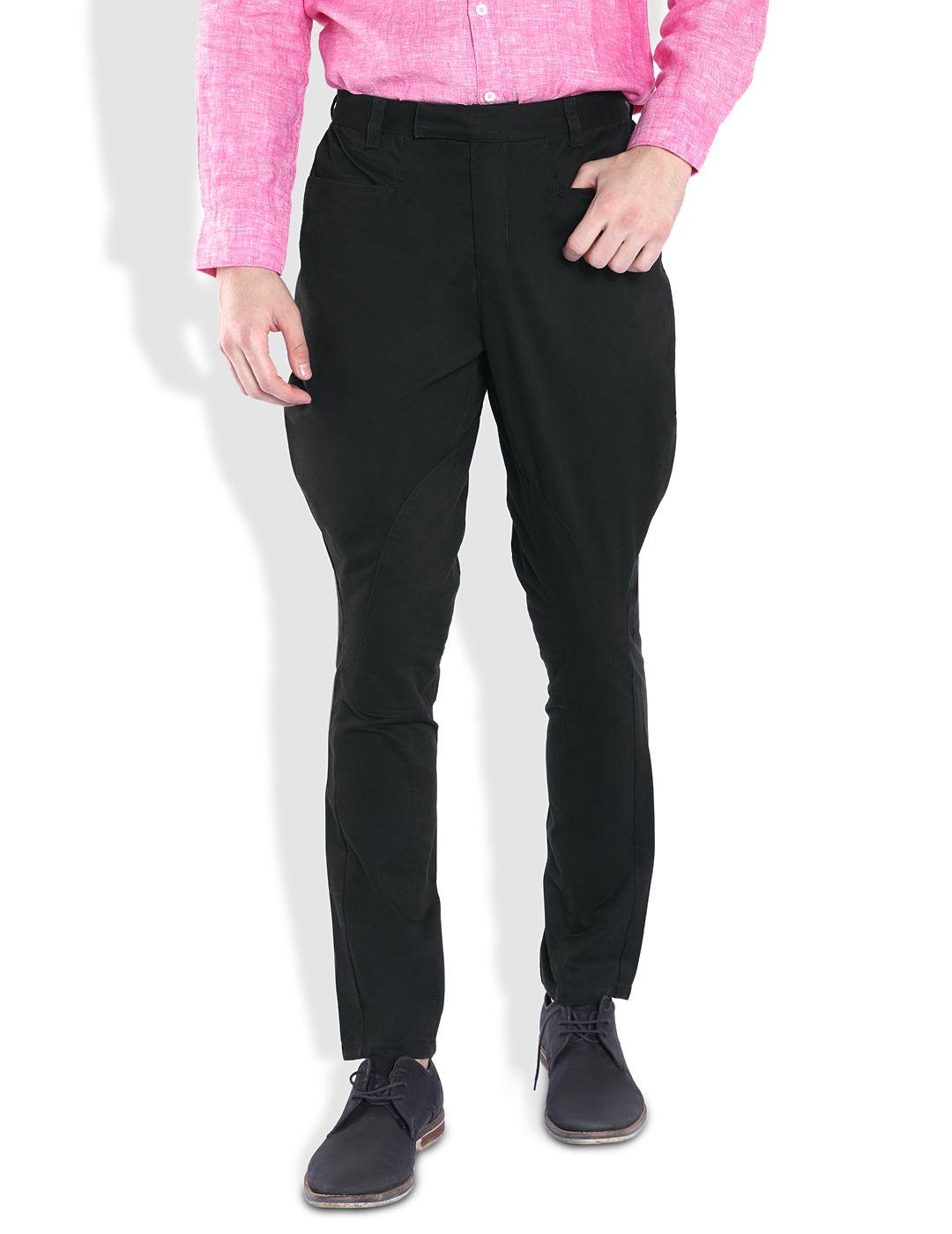 Parx Black Regular Fit Flat Trousers