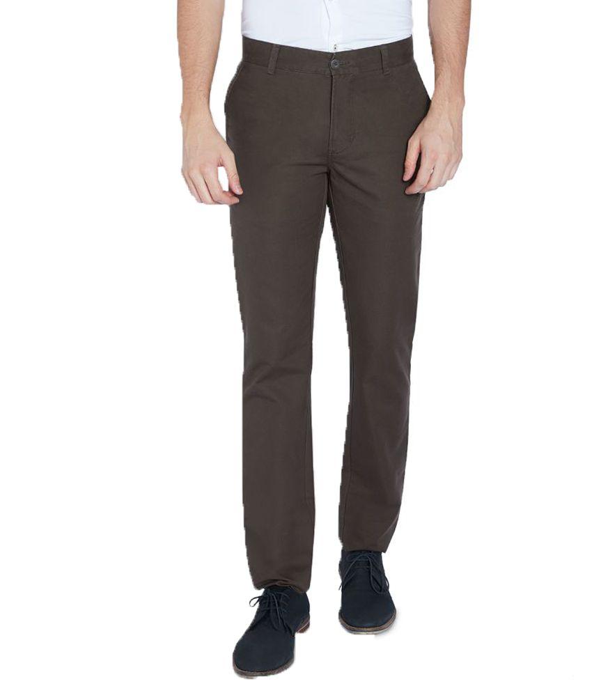 Parx Green Slim Fit Flat Trousers