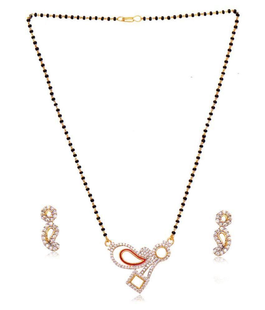 Ratnakar Alloy Studded Gold Coloured Mangalsutra Set