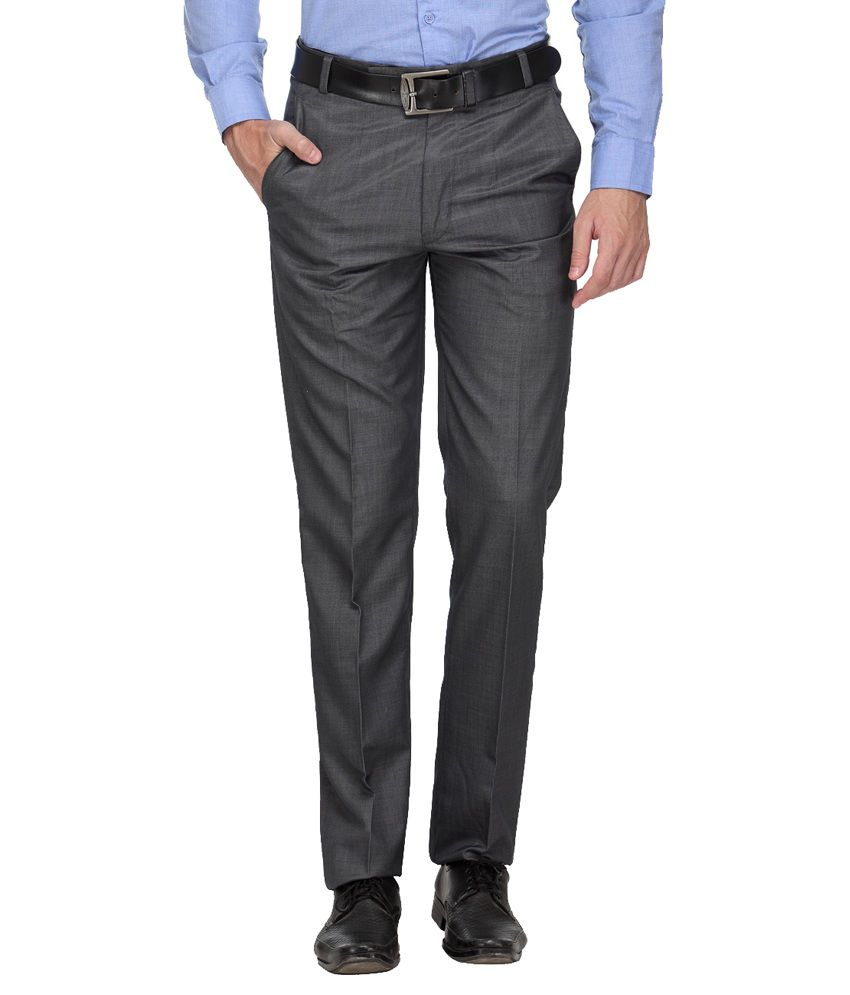Ausy Black Slim Fit Flat Trousers