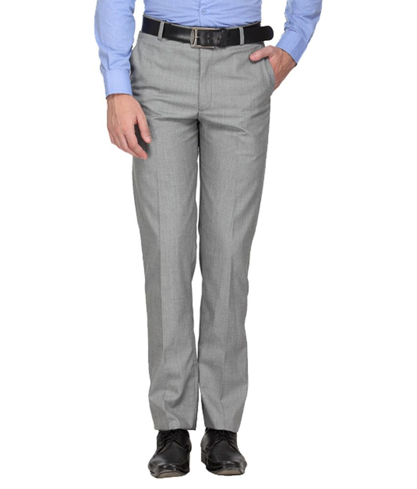 Ausy Grey Slim Fit Flat Trousers
