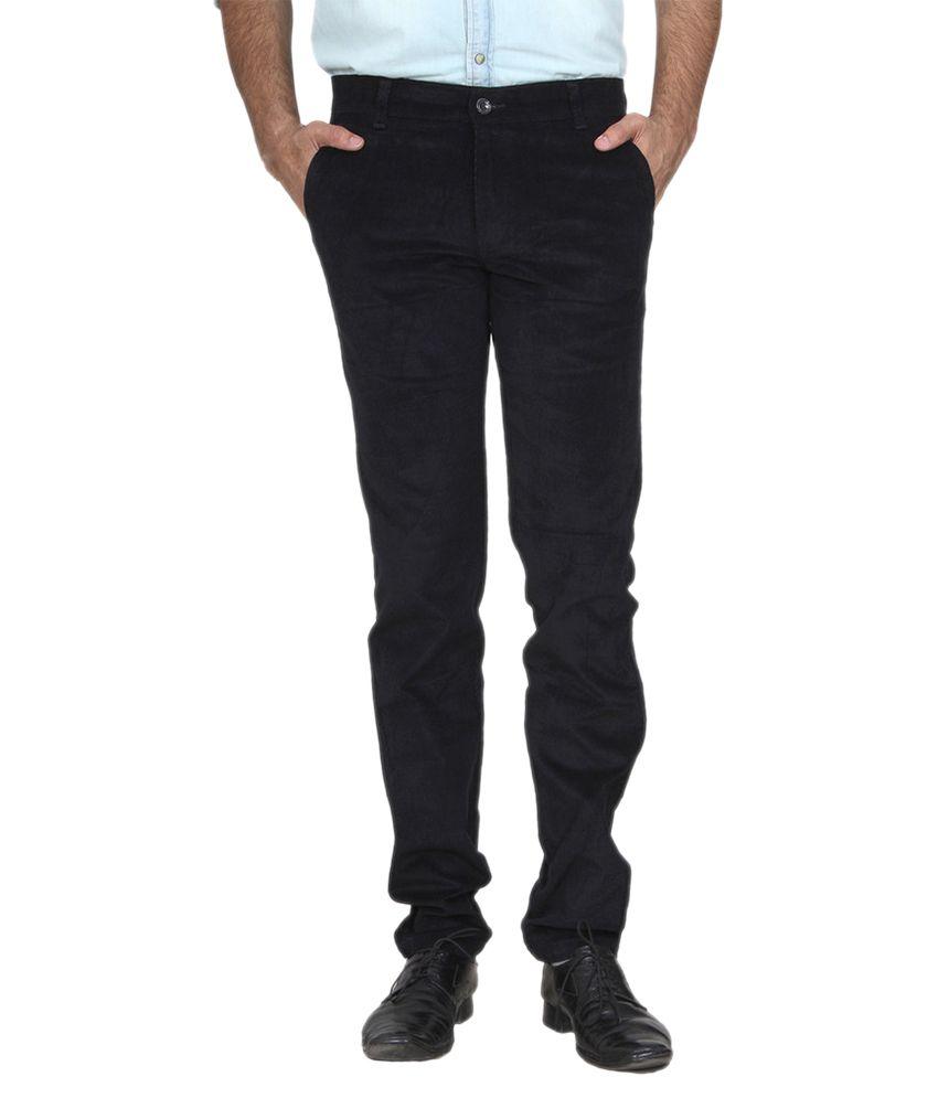 Mark-8 Black Slim Fit Flat Trousers