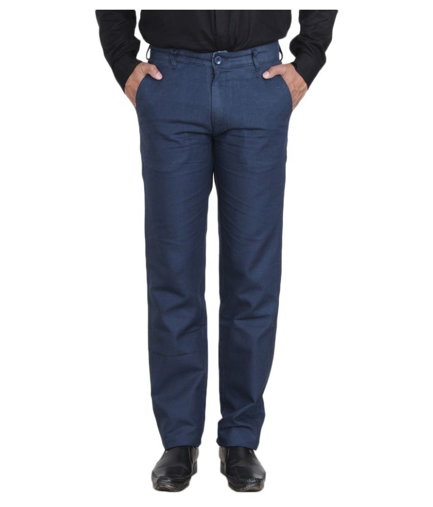 Mark-8 Blue Regular Fit Flat Trousers