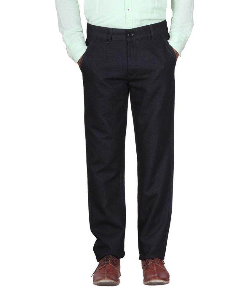 Metalica Black Regular Fit Flat Trousers