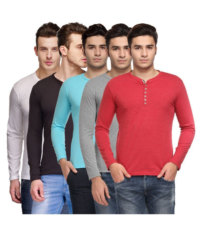 TSX Multi Henley T Shirt Pack of 5