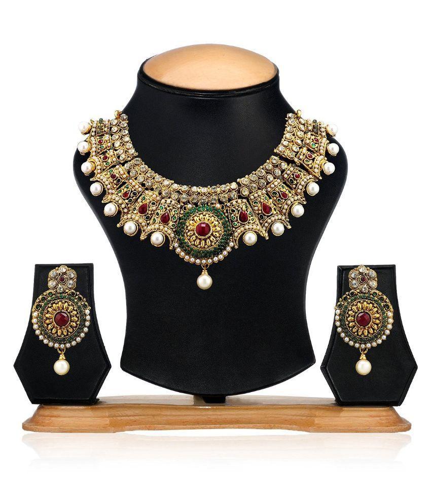 Zaveri Pearls Multicolor Designer Necklace Set - ZPFK1702
