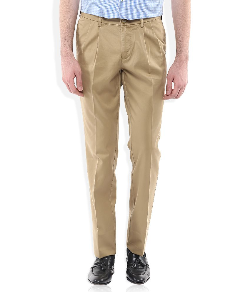 Indian Terrain Khaki Regular Fit Pleated Trousers
