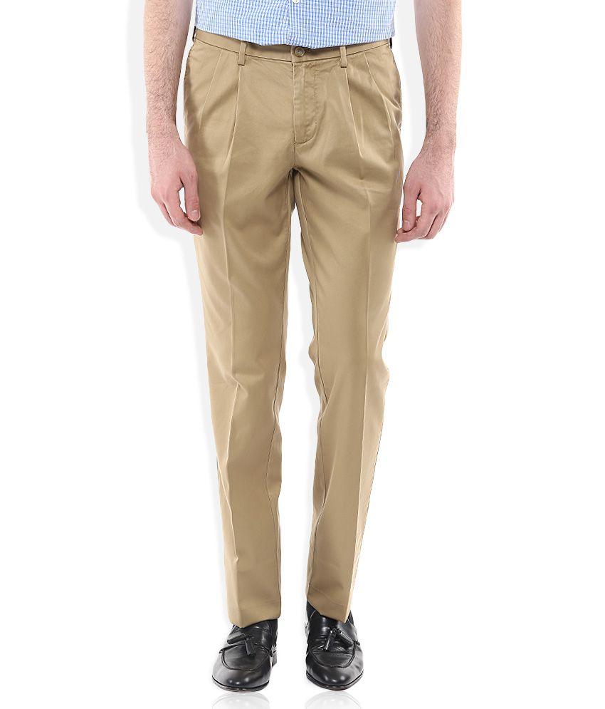 Indian Terrain Khaki Regular Fit Pleated Trousers