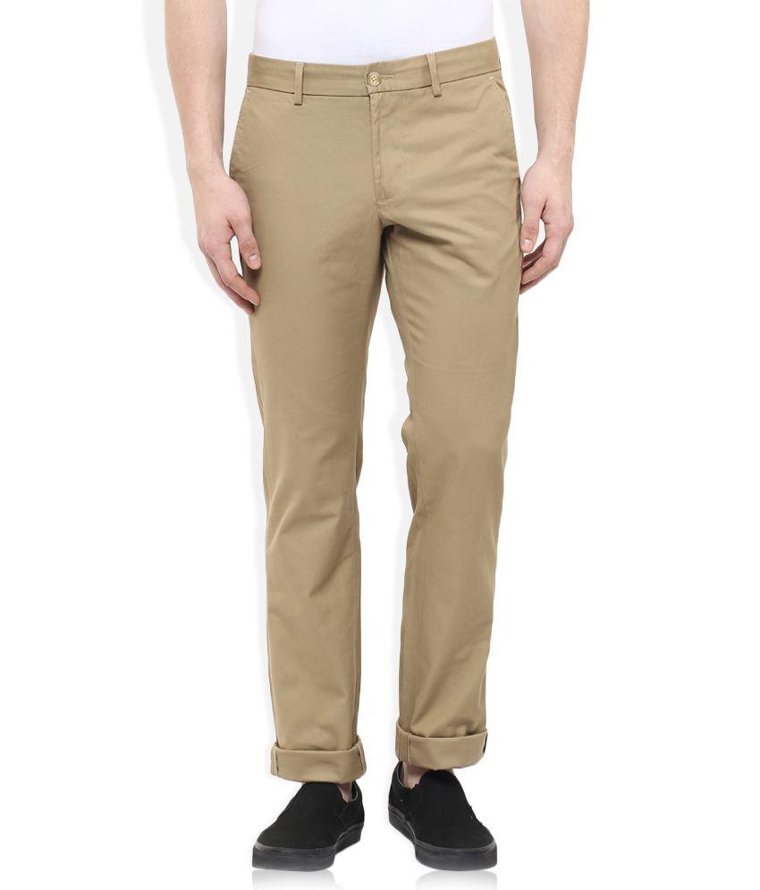 Indian Terrain Khaki Slim Fit Flat Trousers