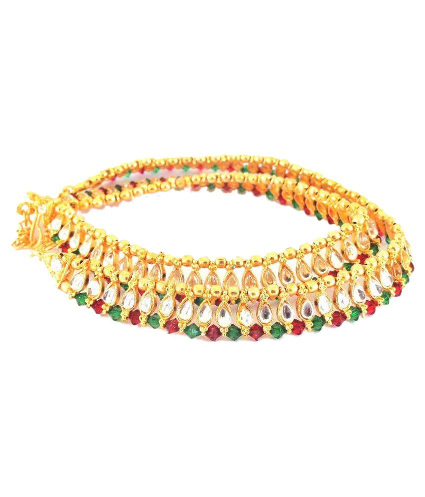 J S Imitation Brass Gold Plating kundan/Meenakari Studded Gold Coloured Pair Of Anklets