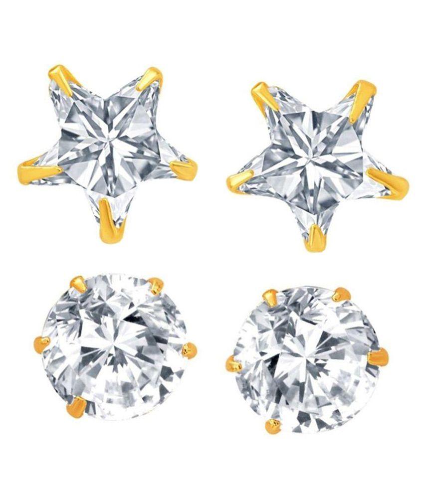 Parijaat Golden Alloy Stud Earrings - Pack of 2