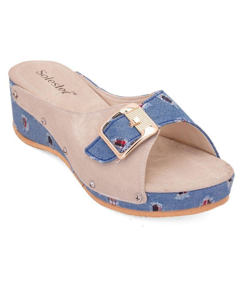 Solester Blue Wedges Heels
