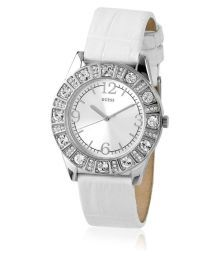 Guess White Leather Analog Watch With Two Strap For Women