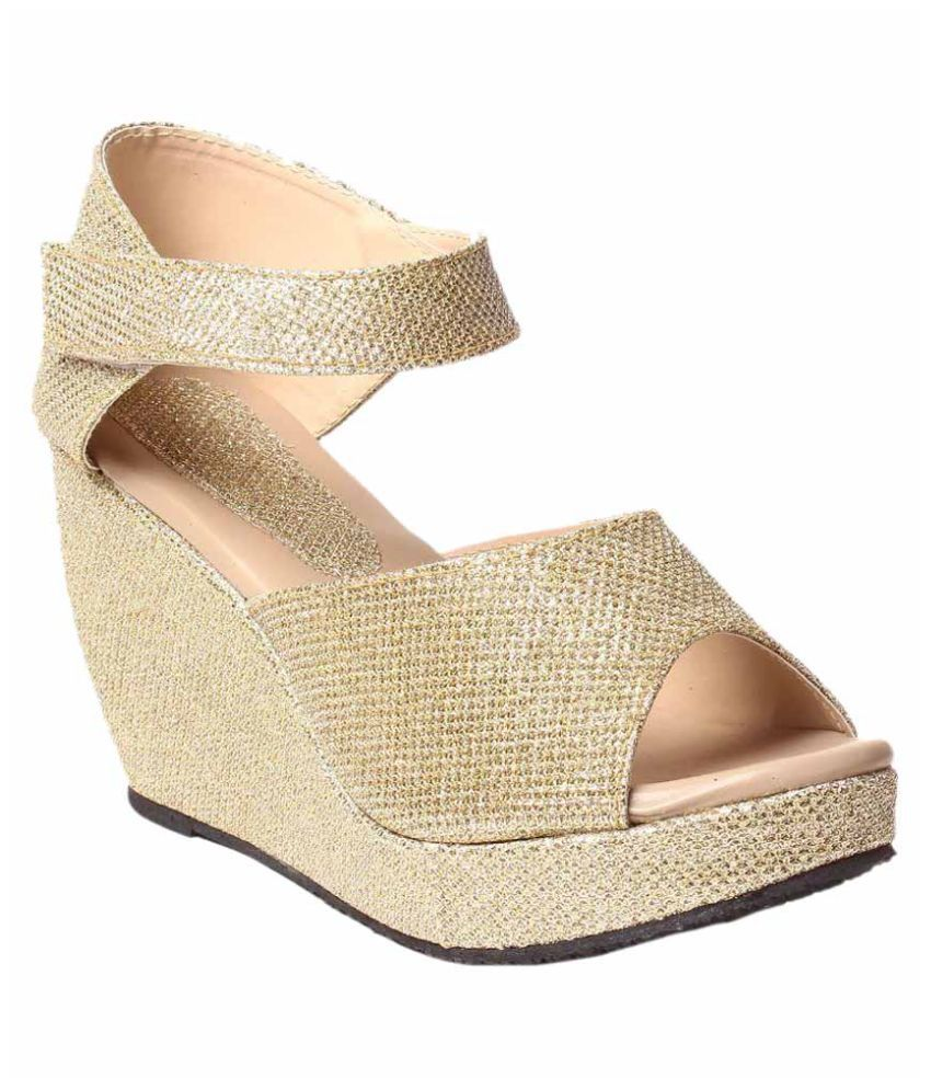 f5d5c8d48b Hansx Gold Wedges Heels Price in India- Buy Hansx Gold Wedges Heels Online  at Snapdeal