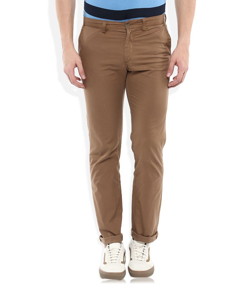 Indian Terrain Brown Slim Fit Chinos