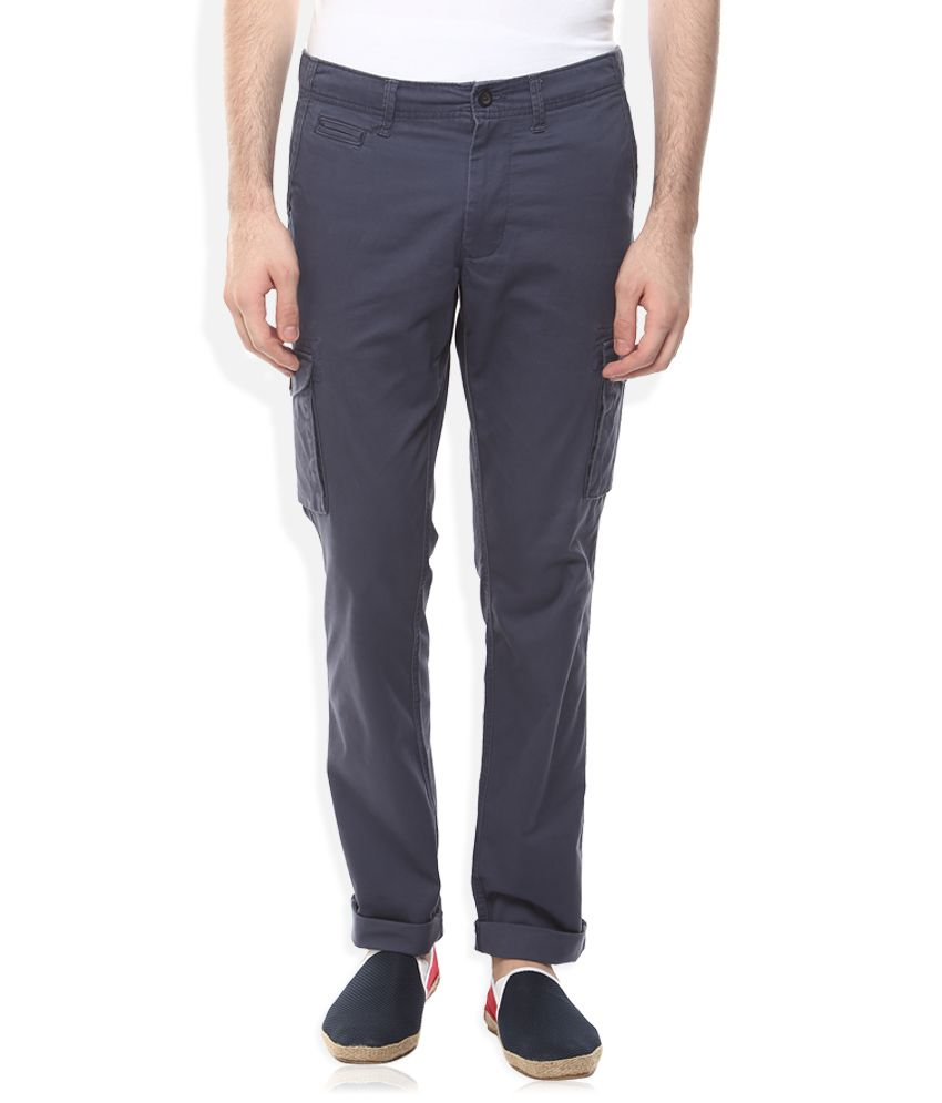 Indian Terrain Navy Slim Fit Cargos