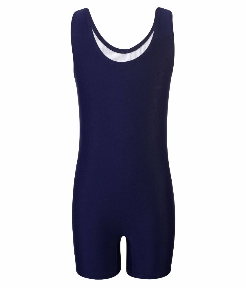 Bosky Navy Blue Polyester Swimming Suit/ Swimming Costume