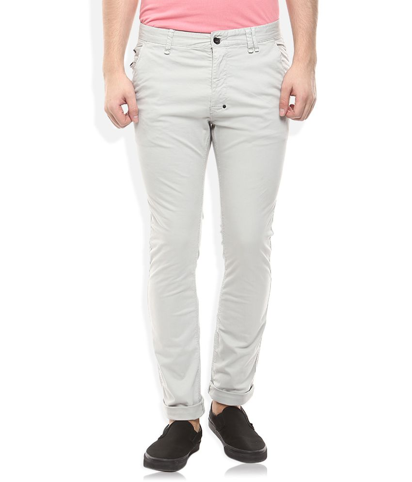 Breakbounce Grey Slim Fit Casuals Chinos