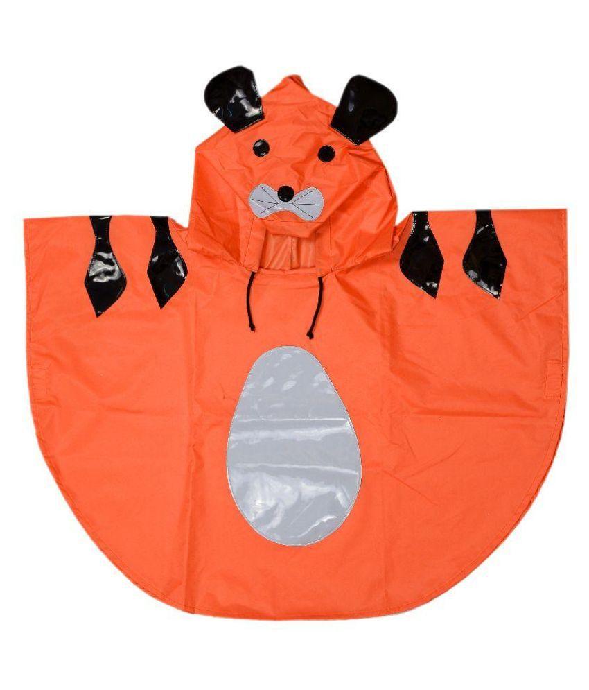 Colors N Bags Orange and Black Cat Print Raincoat with Bag
