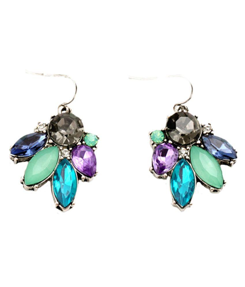 Femnmas Zinc Rhodium Plating Studded Multi Coloured Earrings