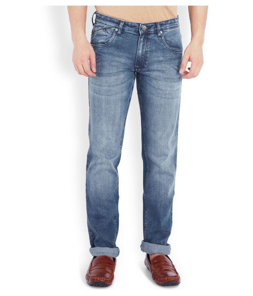 Park Avenue Blue Regular Fit Faded Jeans