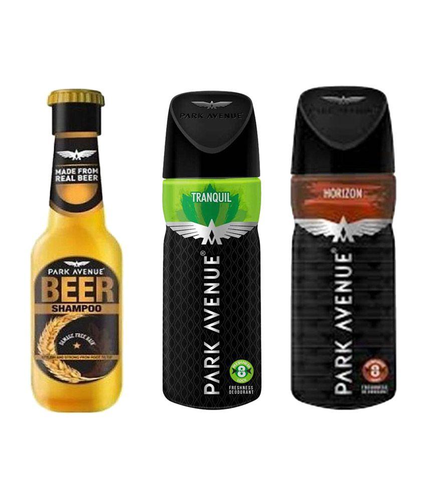 Park Avenue Damage Free Beer Shampoo, Horizon, Tranquil Deodorant - (Pack of 3)
