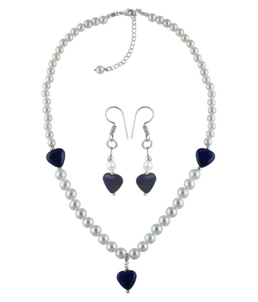 Pearlz Ocean Alloy Oxidised Silver Pearls Studded Multi Coloured Necklaces Set