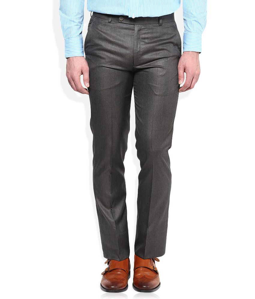 Vivaldi Grey Slim Fit Flat Trousers